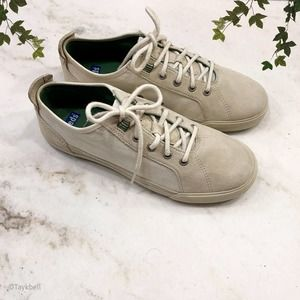 Keds Cream Suede Canvas Classic Sneakers Shoes, 8
